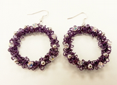 Wirework Christmas Wreath Earrings Kit with SWAROVSKI® ELEMENTS Purple tones